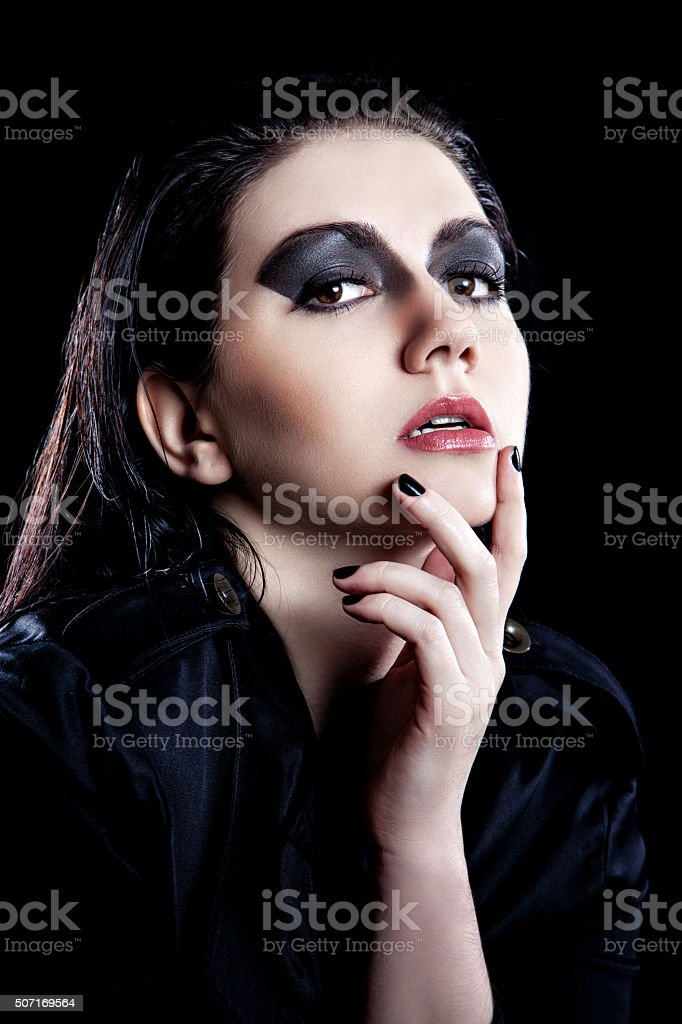 Rocker style girl portrait stock photo