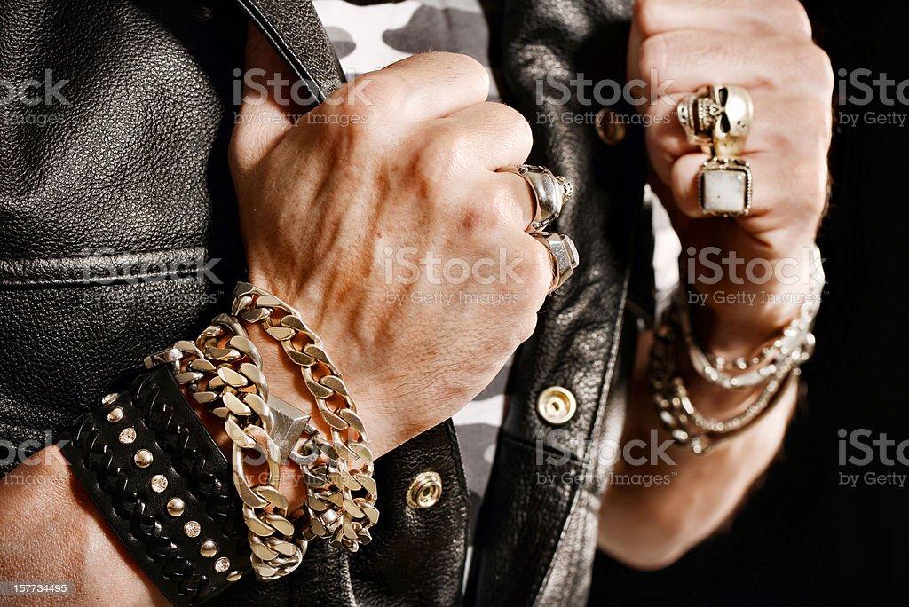 Rocker/Biker studio portraits stock photo