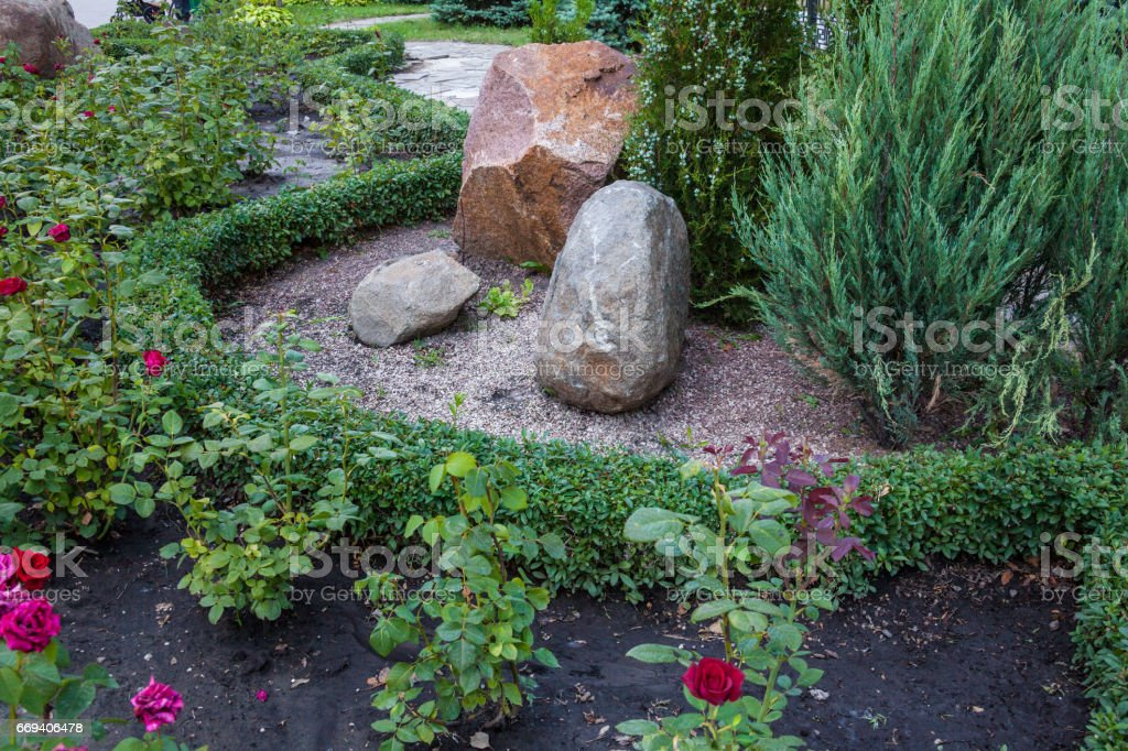 Rockery in the garden. stock photo