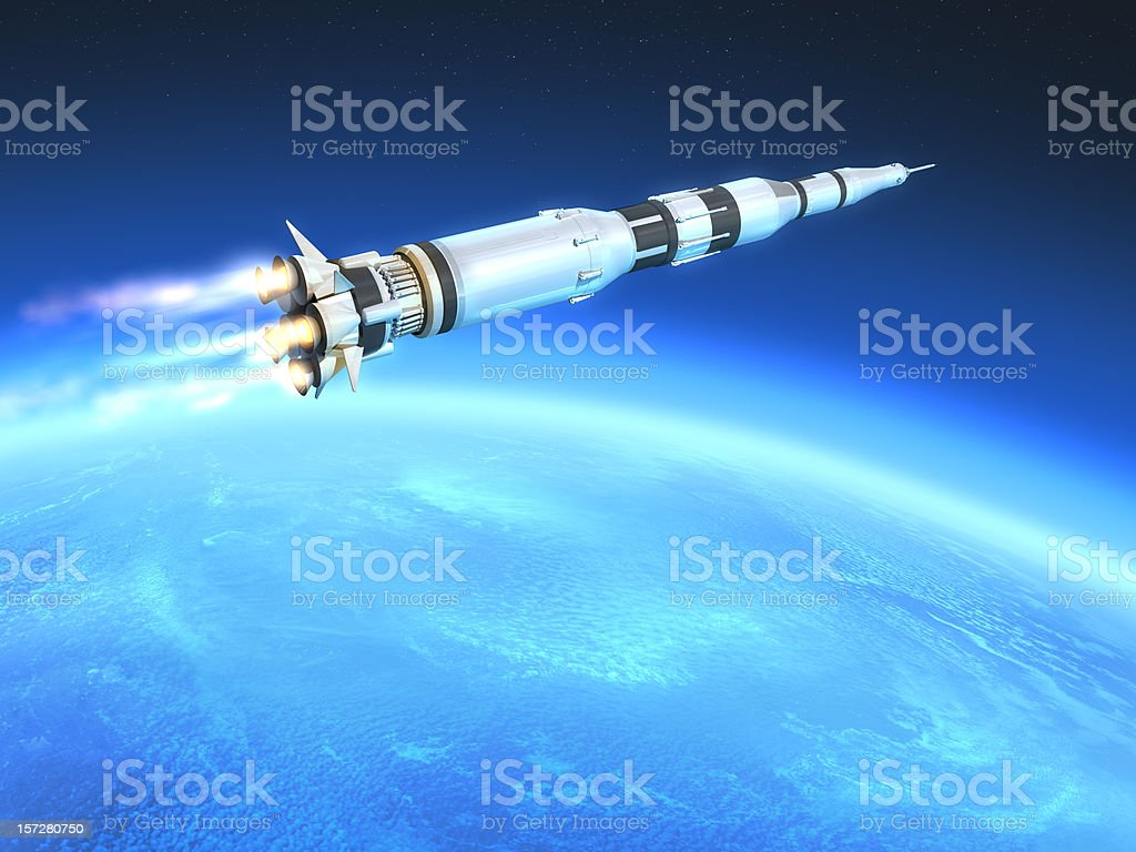 Rocket and Earth royalty-free stock photo