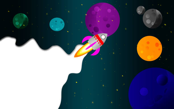 rocket and planets in outer space - rocket logo stock photos and pictures
