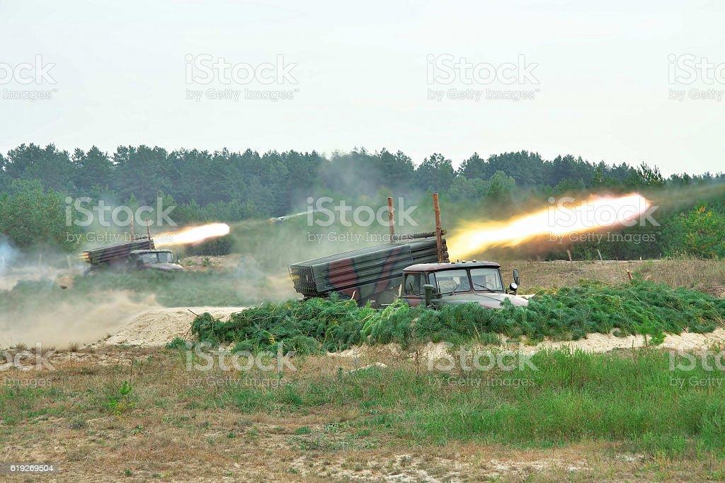 Rocket artillery in action stock photo