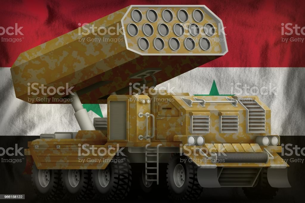 rocket artillery, missile launcher with sand camouflage on the Syrian Arab Republic national flag background. 3d Illustration - Foto stock royalty-free di Ambientazione esterna