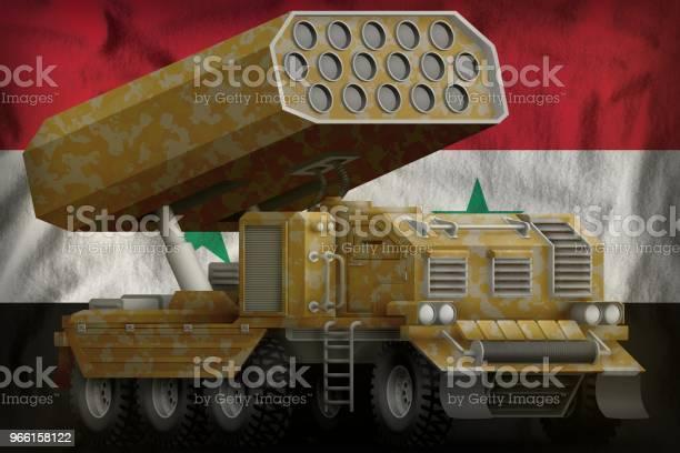 Raket Artilleri Missillauncher Med Sand Kamouflage På Syrien Flagga Bakgrund 3d Illustration-foton och fler bilder på Armé