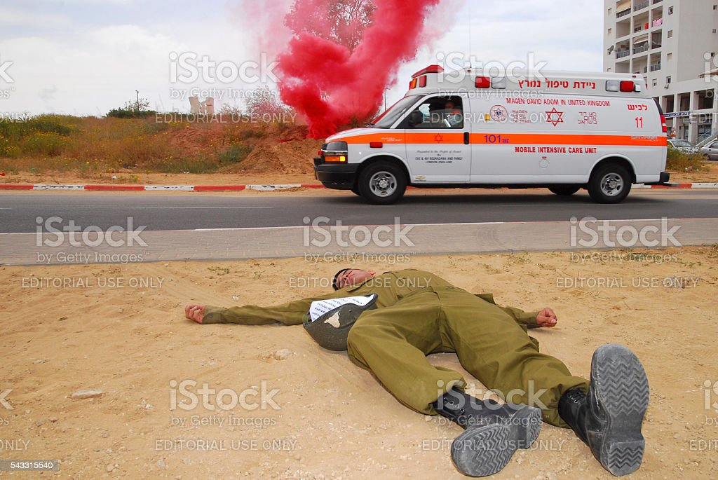 Rocket Attack Simulation Drill stock photo