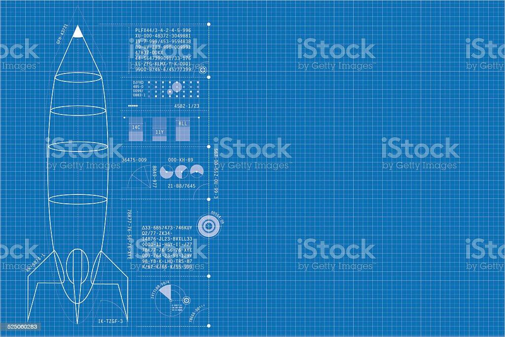 Rocket blueprint stock photo