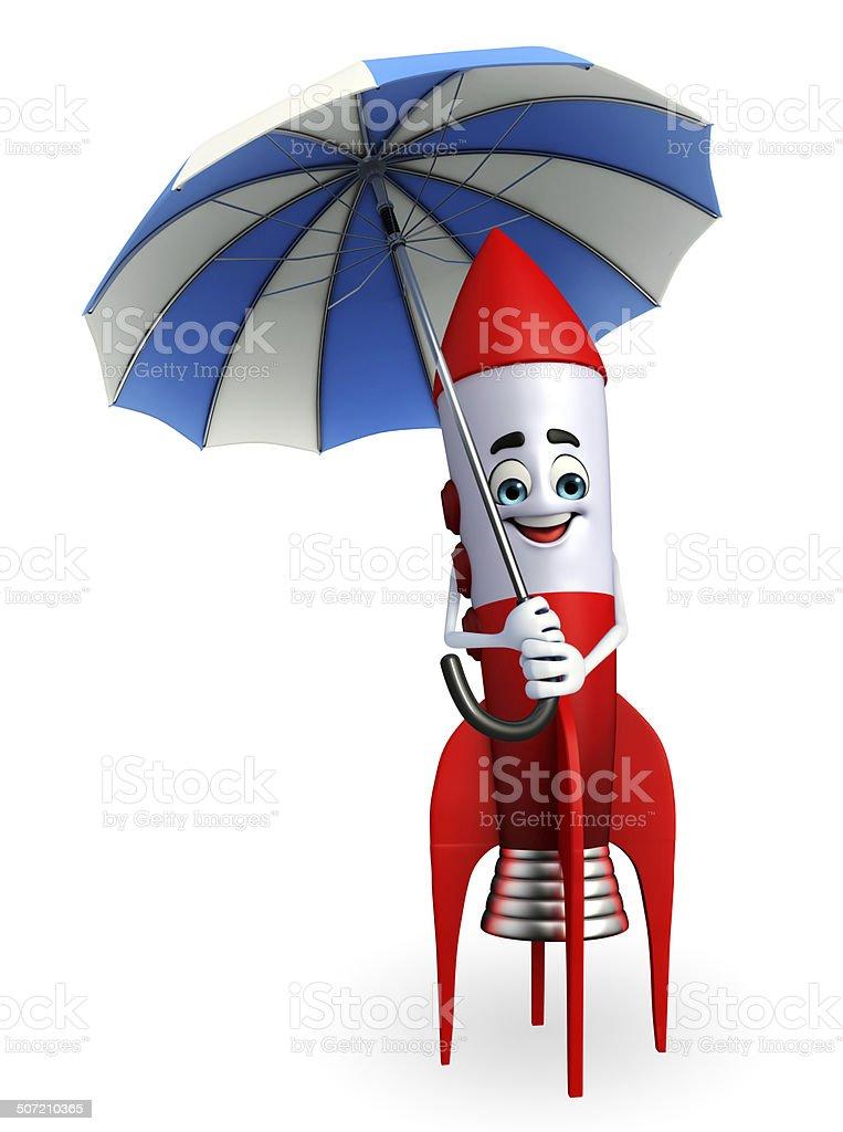 Rocket character with umbrella royalty-free stock photo