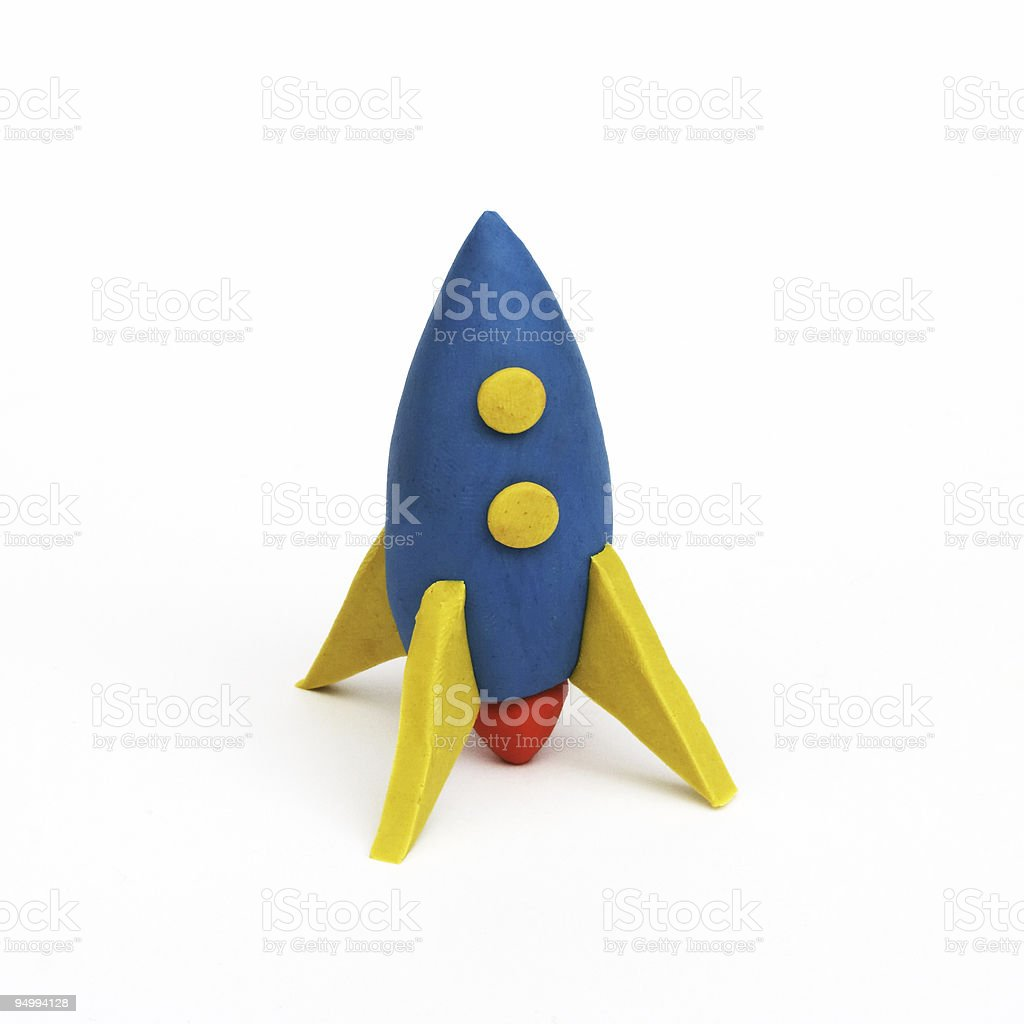 rocket, clay modeling stock photo