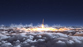 Rocket flies through the clouds on moonlight 3d illustration