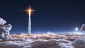 istock Rocket flies through the clouds 1190582403
