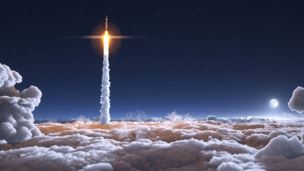 Rocket flies through the clouds Rocket flies through the clouds on moonlight 3d illustration outer space stock pictures, royalty-free photos & images