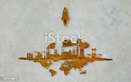 A rocket flying over the earth. To find a new place for the world.The city growth on the earth.Toxic smoke destroys the environment.