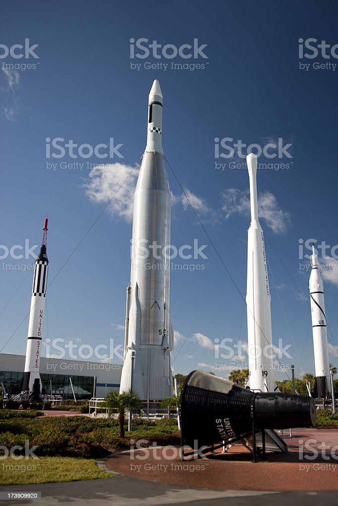 Rocket garden at Cape Canaveral stock photo