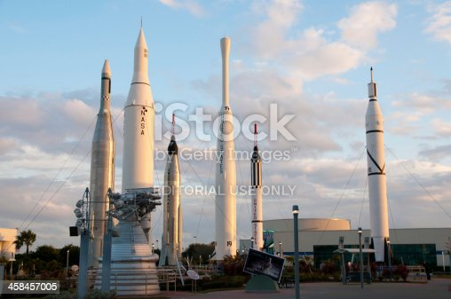 Cape Canaveral, Florida - March 2, 2010: The Rocket Garden at the Kennedy Space Center Visitor Complex during sunset.  The Rocket Garden features eight milestone launch vehicles from KSC's history.