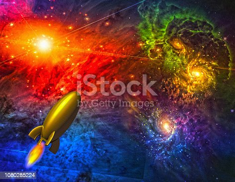 istock Rocket in colorful space 1080285224