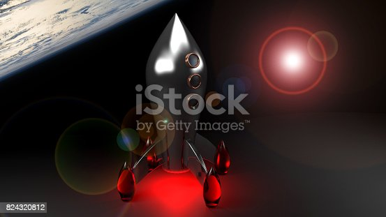 A rocket is in the space, landing on some planet. The surface of another planet is visible relatively near and more far the light of a star is coming with some flares - 3D rendering