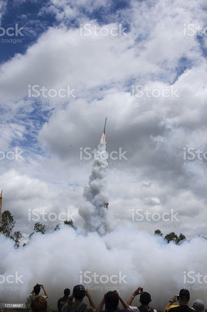 Rocket launch at Yasothon, Thailand royalty-free stock photo