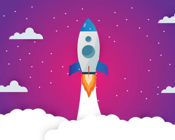 ロケット打ち上げアイコン - 宇宙のトピックやビジネススタートアップ、スタートアップの概念、宇宙上の月の夜の時間を説明するために使用することができます。 - business icon eps ストックフォトと画像