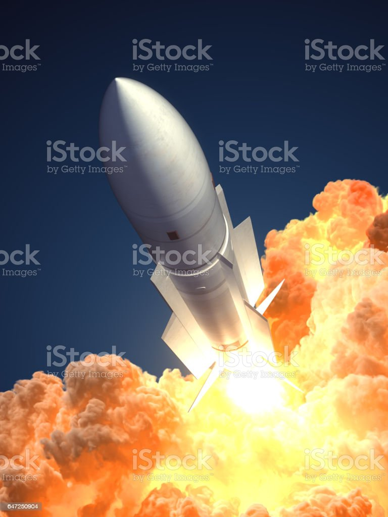 Rocket launch In The Clouds Of Fire stock photo