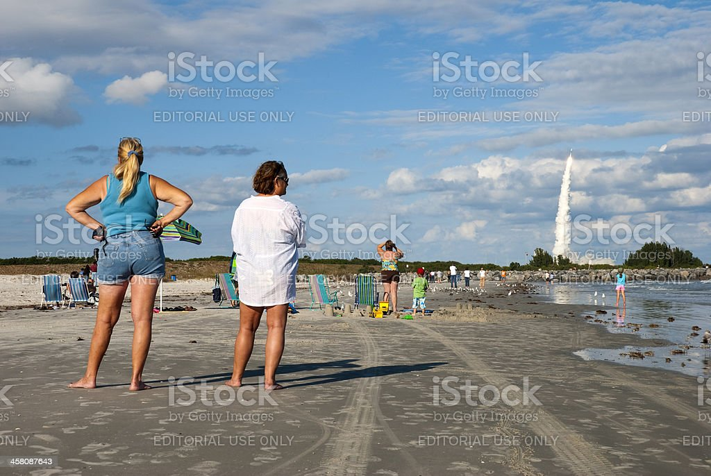 Watching a rocket launch royalty-free stock photo