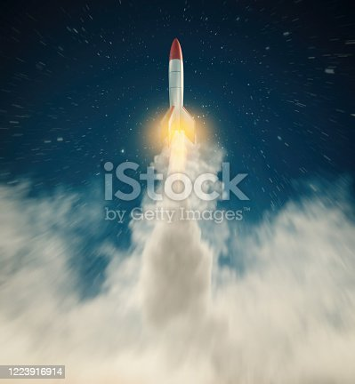 Rocket missle flying to the stars . Dream come true concept start up . This is a 3d render illustration .