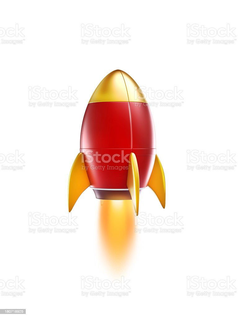 rocket or spaceship Flying in the Sky stock photo