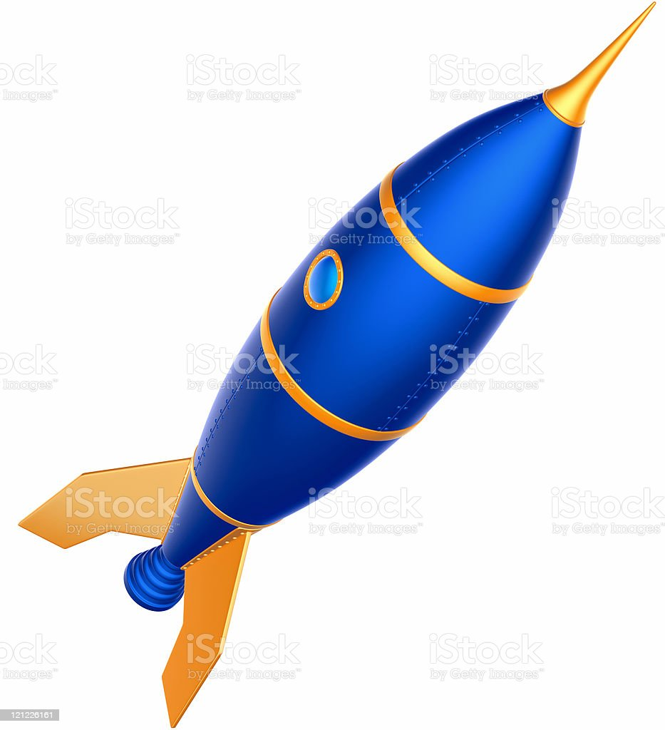 Rocket. Retro style cartoon. XXXL royalty-free stock photo