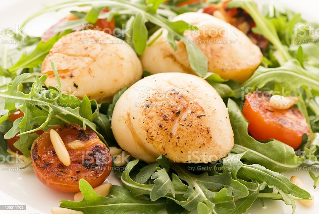 Rocket Salad with Scallops royalty-free stock photo