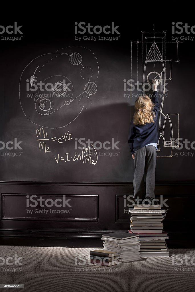 rocket science schoolgirl stock photo