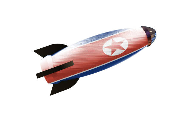 rocket space ship with north korean flag 3d rendering - rocket logo stock photos and pictures