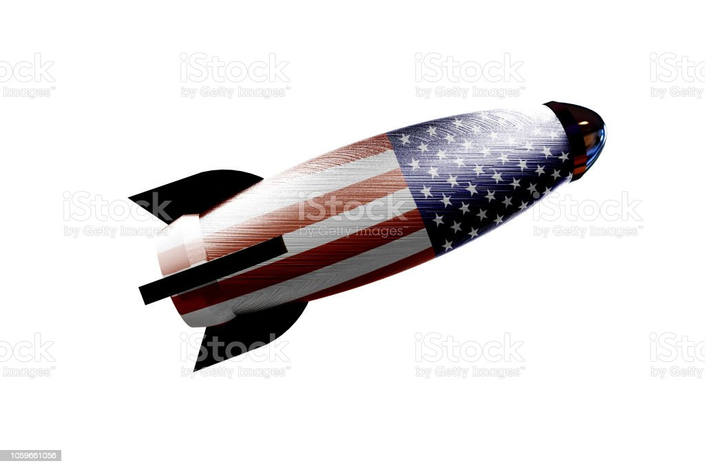 Rocket space ship with USA flag 3D rendering stock photo