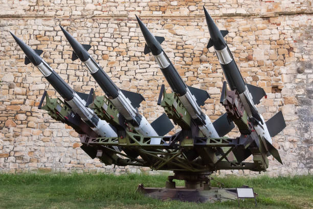 Rocket system S-125M Neva-M with four missiles. Soviet anti-aircraft missile complex. stock photo