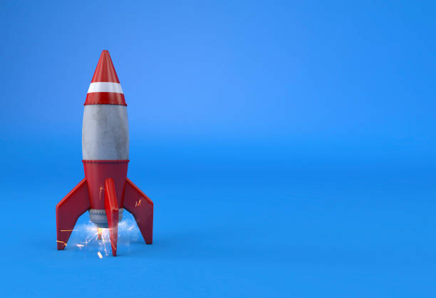 rocket takeoff business start up concept copy space - mphillips007 stock pictures, royalty-free photos & images