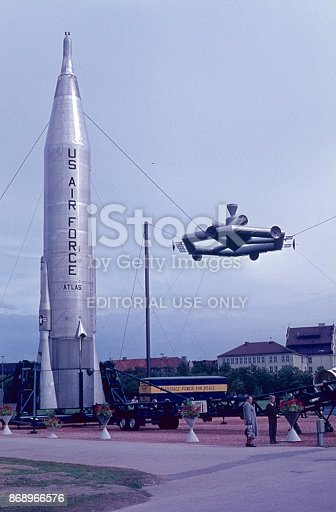 Berlin, Germany, 1961. American Rakententechnik exhibition in the former West Berlin. In the Cold War era, there was a race between the US and the Soviet Union, who first brought a man into space.