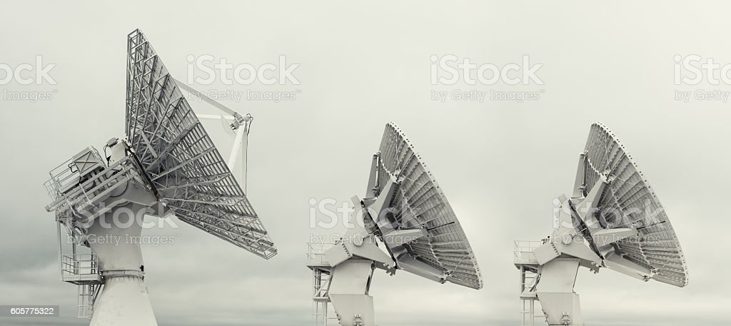Rocket Tracking Satellite Dishes stock photo