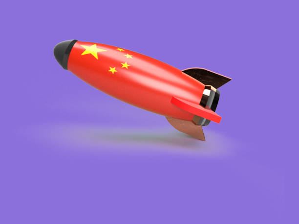 rocket with china flag 3d rendering - rocket logo stock photos and pictures
