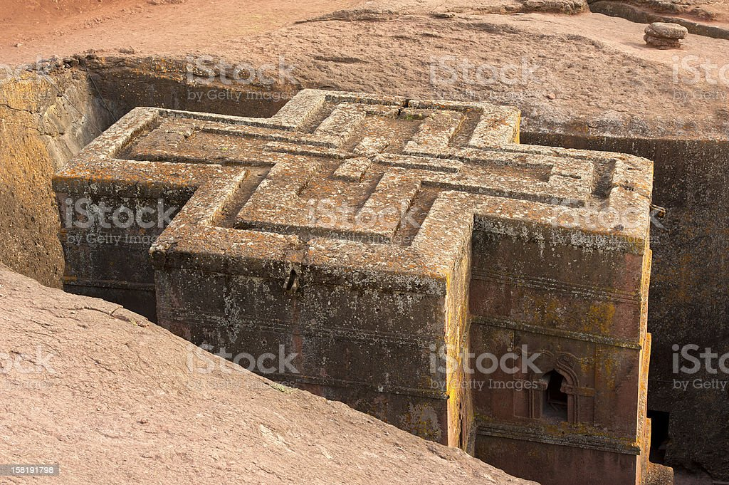 rock-hewn church Bet Giyorgis (St. George) in Lalibela, Ethiopia stock photo