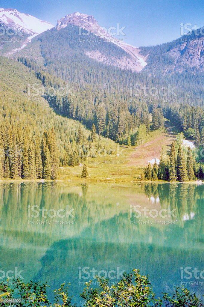Rockies Mountains Emerald Lake stock photo