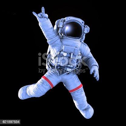 istock Rocking Astronaut, 3d render 621597534