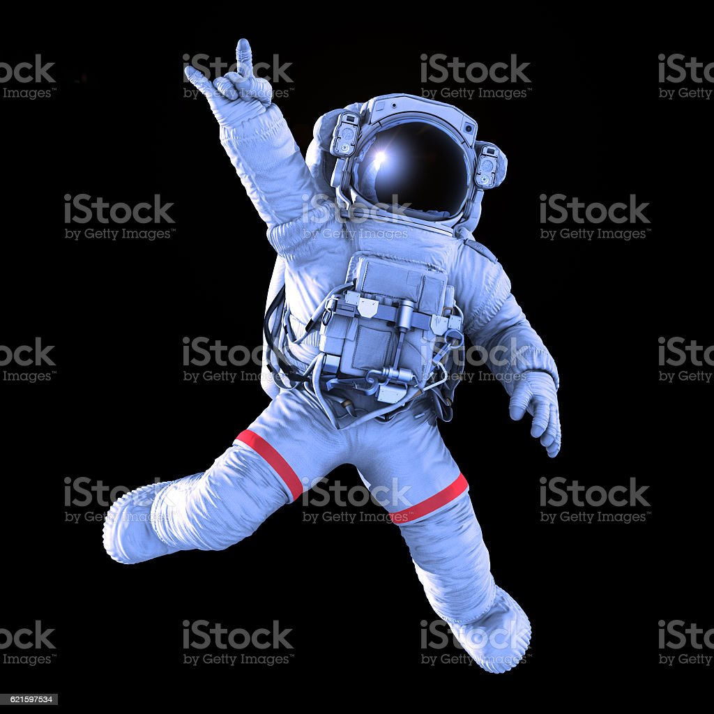 Rocking Astronaut, 3d render stock photo