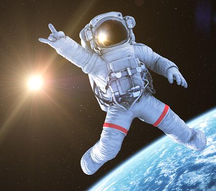 Rocking Astronaut, 3d render