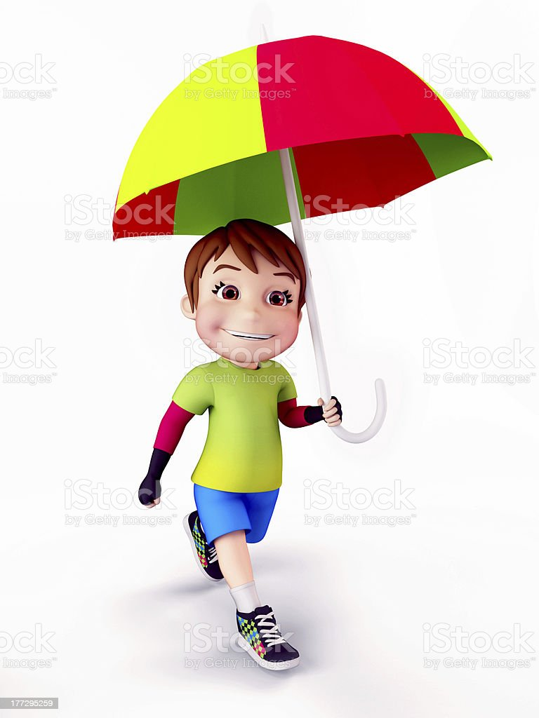 rocking boy with umbrella stock photo more pictures of animated