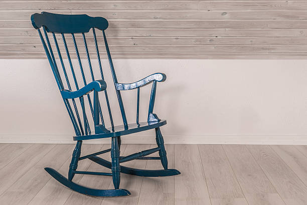 Rocking chair in a living room stock photo