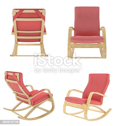 istock Rocking chair isolated on white background. 655818706