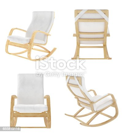 istock Rocking chair isolated on white background. 655819116
