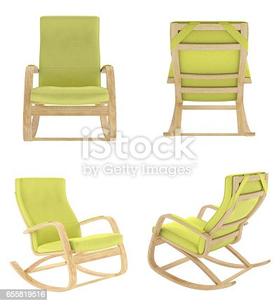 istock Rocking chair isolated on white background. 655819516