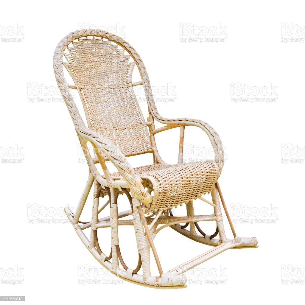rocking chair on white stock photo