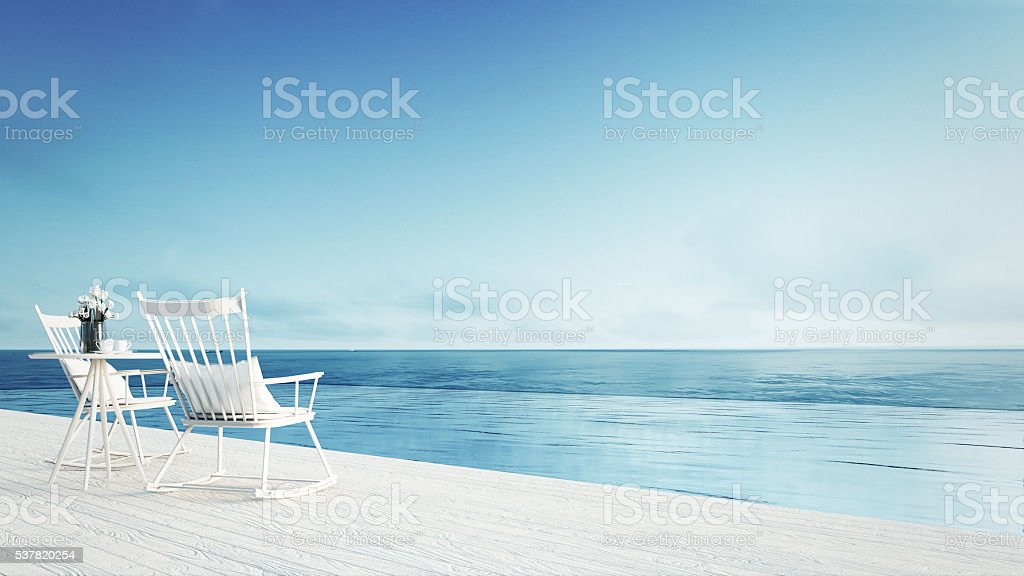 rocking chair - Sea view for vacation and summer stock photo