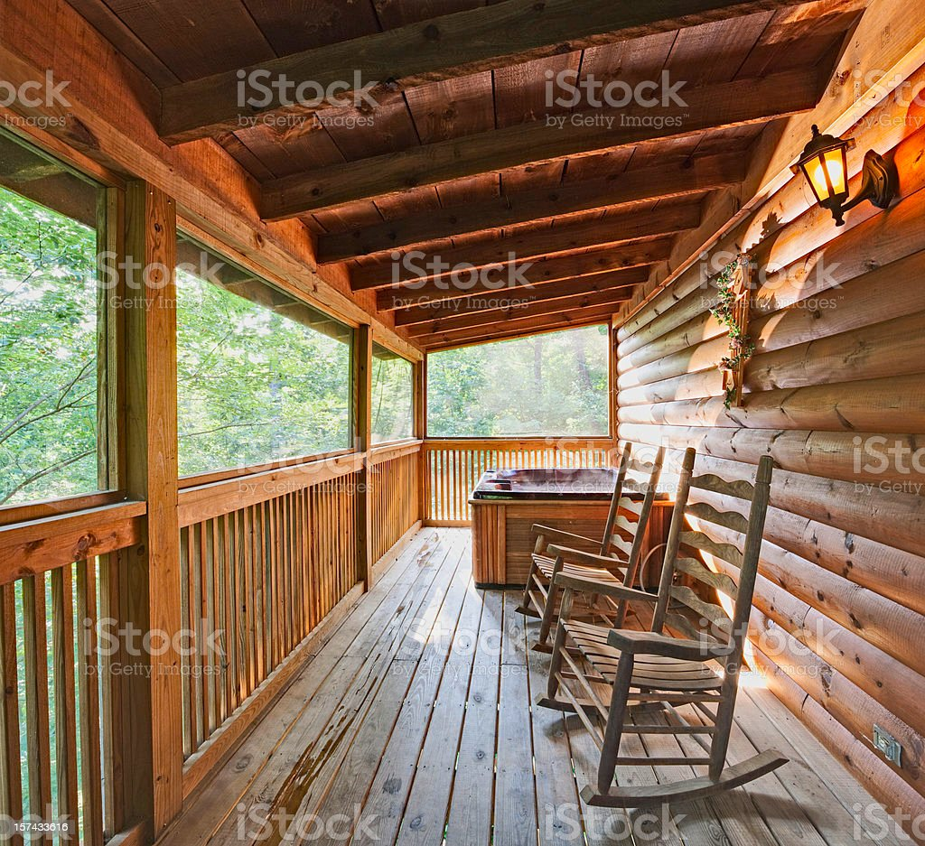 Excellent Rocking Chairs And A Hot Tub Stock Photo Download Image Evergreenethics Interior Chair Design Evergreenethicsorg