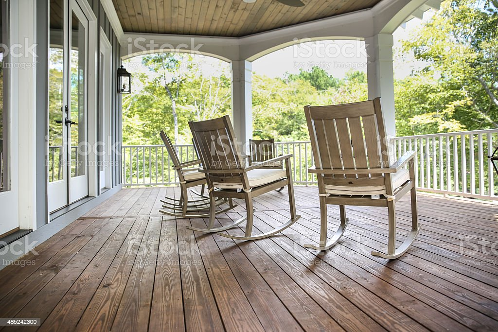 Rocking Chairs on a Southern Porch stock photo